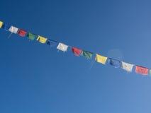 Rezando bandeiras, vale de Langtang, Nepal imagens de stock