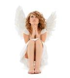 Rezando a menina adolescente do anjo Foto de Stock Royalty Free