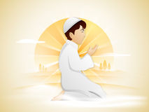 Rezando o menino muçulmano para o mês santamente, Ramadan Kareem ilustração stock