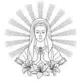 Rezando a Virgem Maria ilustração royalty free