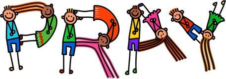 Rezar o texto do título das crianças ilustração do vetor
