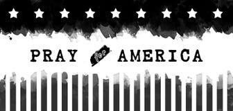Rezar para América, preto e branco Imagens de Stock