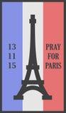 Rezar para o cartão das palavras de Paris Foto de Stock