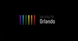 Rezar para o cartaz da colagem da arte finala de Orlando fotos de stock