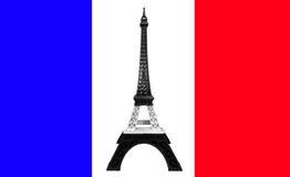 Rezar para o conceito de Paris, modelo da torre Eiffel na listra preto e branco monótonos impressa pela impressora 3D na bandeira Foto de Stock Royalty Free
