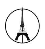 Rezar para o conceito de Paris, modelo da torre Eiffel na listra preto e branco monótonos impressa pela impressora 3D no sinal de Imagens de Stock Royalty Free