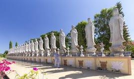Rezar para a paz em um templo budista Dai Tong Lam Fotografia de Stock Royalty Free