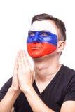 Rezar para Rússia O fan de futebol do russo reza para a equipa nacional de Rússia do jogo Imagem de Stock
