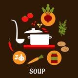Rezept der vegetarischen Suppe mit flachen Ikonen Stockbilder