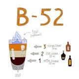 Rezept des Cocktail-B-52 Lizenzfreie Abbildung