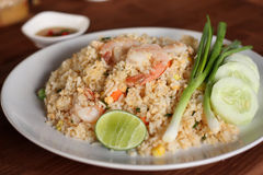 Rezept des gebratenen Reises mit Garnele, asiatische Küche Stockfotografie