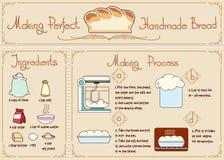 Rezept des selbst gemachten Brotes mit Bestandteilen Hand Stockfotos