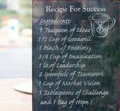 Rezept für Erfolg lizenzfreie stockbilder