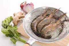 Rezept für thailändische gebackene Garnele mit Glasnudel Stockbilder
