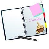 Rezeptbuch veranschaulicht mit moca-weißem choco kleinem Kuchen Stockbilder