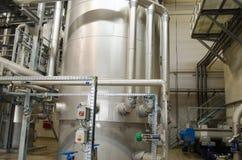 Rezerwuarów zbiorników szlamu digester magazynu suchy biogas fotografia stock