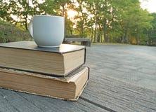 Rezerwuje z filiżanką na drewnianej ławki tła wschodzie słońca obraz royalty free