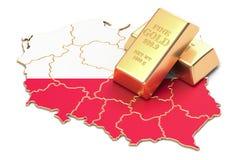 Rezerwy walutowe Polska pojęcie, 3D rendering Fotografia Royalty Free
