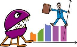 Rezession in der Geschäftskarikaturillustration Lizenzfreie Stockfotos
