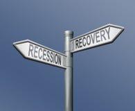 Rezession oder Wiederanlauf finanziell oder Querneigungkrise Lizenzfreies Stockfoto
