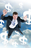 Rezession schlägt Geschäftsmann Stockbild