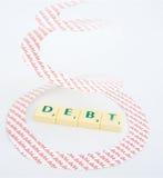 Rezession: Windende Schuld lizenzfreie stockfotografie