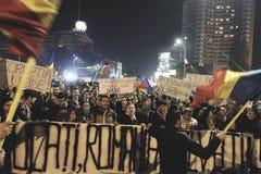 #rezistprotest, Bucharest, Rumänien Royaltyfri Fotografi