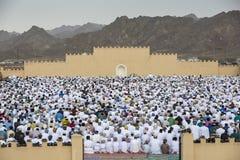 Rezo al inicio de Eid, día de fiesta musulmán de la salida del sol después de un mes Foto de archivo libre de regalías