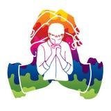 Rezo, cristiano que ruega, dios de la alabanza, gr?fico de la historieta de la adoraci?n stock de ilustración
