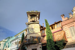 Rezo Gabriadze's clock tower of the puppet theatre. Royalty Free Stock Images