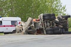 Rezultat karambol między dwa ciężarówkami fotografia stock