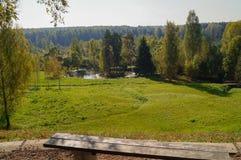 Rezydencja ziemska stawu krajobraz Zdjęcia Royalty Free