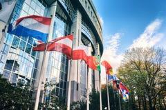 Rezygnować flaga przed parlamentu europejskiego budynkiem brussels Obraz Stock