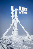 RF antennas on meteo station. RF antennas covered by snow - Bieszczady Mountains Royalty Free Stock Image