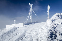 RF antennas on meteo station. RF antennas covered by snow - Bieszczady Mountains Royalty Free Stock Photography