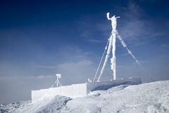 RF antennas on meteo station. RF antennas covered by snow - Bieszczady Mountains Royalty Free Stock Photos