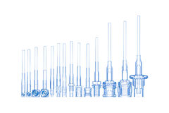 RF Cable connectors (3D xray blue on w Stock Images