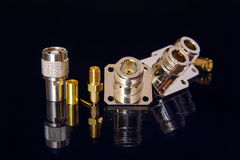 RF connectors. Different high-frequency connectors for high-speed data transmission Royalty Free Stock Photography