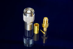 RF connectors. Different high-frequency connectors for high-speed data transmission Stock Images