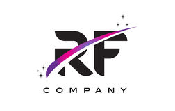 RF R F Black Letter Logo Design with Purple Magenta Swoosh Stock Image