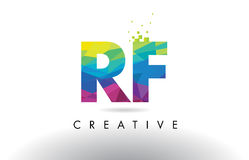 RF R F Colorful Letter Origami Triangles Design Vector. Stock Photos