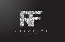 RF R F Letter Logo with Zebra Lines Texture Design Vector. Royalty Free Stock Photos