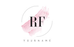 RF R F Watercolor Letter Logo Design with Circular Brush Pattern Royalty Free Stock Images