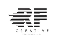 RF R F Zebra Letter Logo Design with Black and White Stripes Stock Image