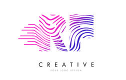 RF R F Zebra Lines Letter Logo Design with Magenta Colors Royalty Free Stock Image