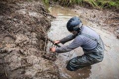 RFC Ukraina Dzikiego knura wyzwanie 2016 Pilot próby dostawać wyzdrowienie piasek tropią od głębokiego błota Zdjęcia Stock