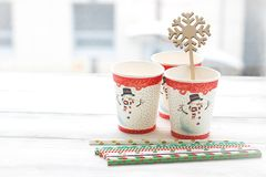 RFestive still life: three glasses with a picture of a snowman Stock Image