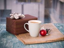 RFestive Still Life With Box, Cup, Vase, Ball, Newspaper Royalty Free Stock Photography
