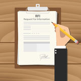 Rfi request for information illustration with business man signing a paper. Work on clipboard on wooden table vector Stock Images