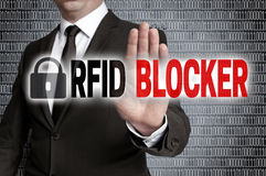 RFID blocker with matrix is shown by businessman royalty free stock photos
